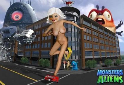 vs desnuda aliens monstruos Poron